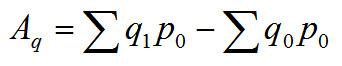 Aq = sum(q1*p0) - sum(q0*p0)