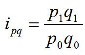Ipq = (p1*q1)/(p0*q0)