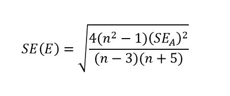 Ekscesa koeficienta standartkļūdas aprēķina formula