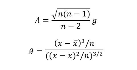 Asimetrijas koeficienta aprēķina formula