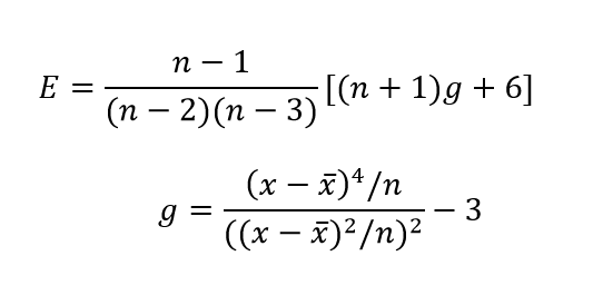 Ekscesa koeficienta aprēķina formula